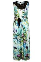 Koko Tropical Print Bead Embellished Neckline Maxi Dress