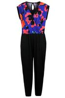 Koko Blue/Multi Tropical Contrast  Jumpsuit
