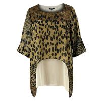 Koko Brown/Multi Animal Print Layered Top