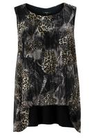 Koko Animal Print Layered Split Back Top