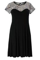 Koko Black/Grey Animal Print Lace Insert Dress