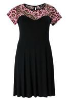 Koko Black/Pink Animal Print Lace Insert Dress