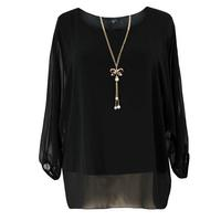 Koko Black Bow Necklace Chiffon Top