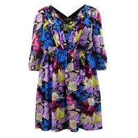 Lovedrobe Blue/Multi 3/4 Sleeve V-Neck Floral Print Dress