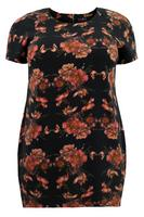 Lovedrobe Black/Multi Floral Print Crepe Dipped Hemline Dress