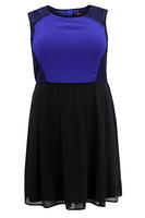 Lovedrobe Black/Blue Contrast Panel Skater Dress