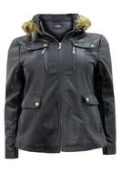 Lovedrobe PU Coat With Faux Fur Trim Hood