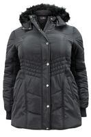 Lovedrobe Black Padded Coat with Faux Fur Trim Hood