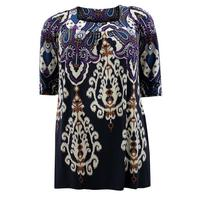 Ladies Black Multi Baroque Print 3/4 Sleeve Tunic