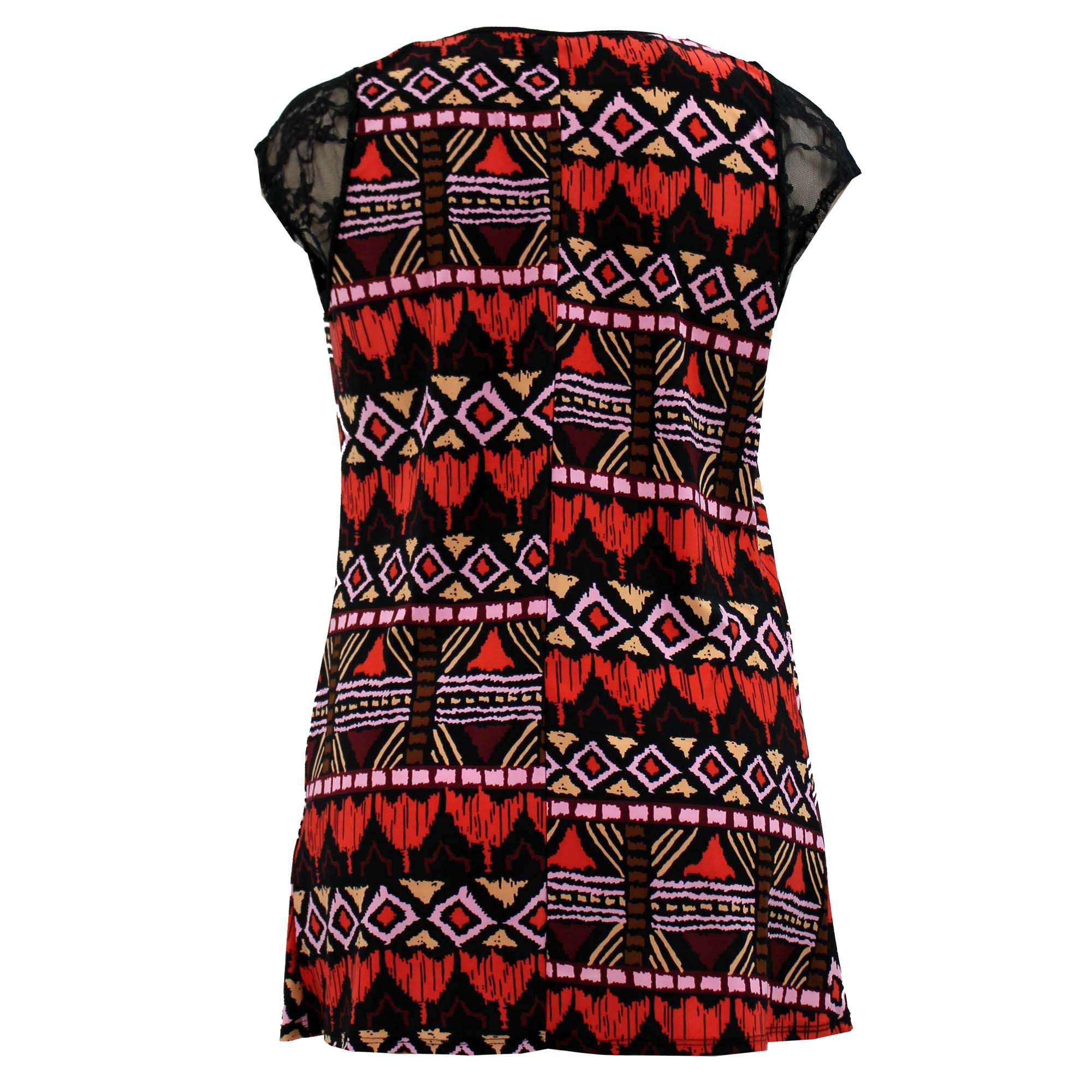 Ladies Red Multi Tribal Print Lace Contrast Top