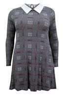 Ladies Black Multi Dogtooth Print Collared Tunic Dress