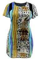 Koko Blue Multi Animal Print Tunic Dress