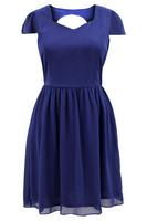 Lovedrobe Navy Keyhole Detail Skater Dress