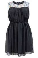Koko Black Multi Cornelli Lace Contrast Skater Dress