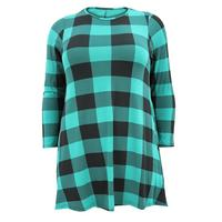 Ladies Green/Black Gingham Print Swing Dress