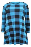 Ladies Blue/Black Gingham Print Swing Dress