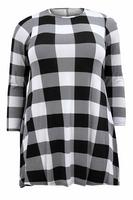 Ladies White/Black Gingham Print Swing Dress