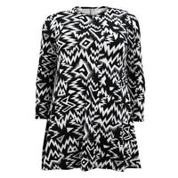 Ladies Black/White Aztec Print Swing Dress