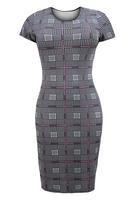 Ladies Black/Multi Dogtooth Print Midi Dress