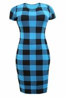 Ladies Blue/Black Gingham Print Midi Dress