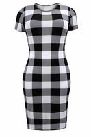 Ladies Black/White Gingham Print Midi Dress