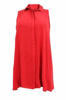 Ladies Red Sleeveless Longline Shirt Dress