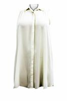 Ladies Cream Sleeveless Longline Shirt Dress