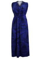 Ladies Blue/Black Geometric Print Maxi Dress