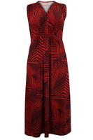 Ladies Red/Black Geometric Print Maxi Dress