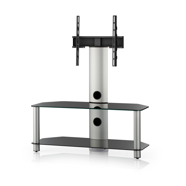 finlux black glass 2 shelf tv corner stand with bracket. Black Bedroom Furniture Sets. Home Design Ideas