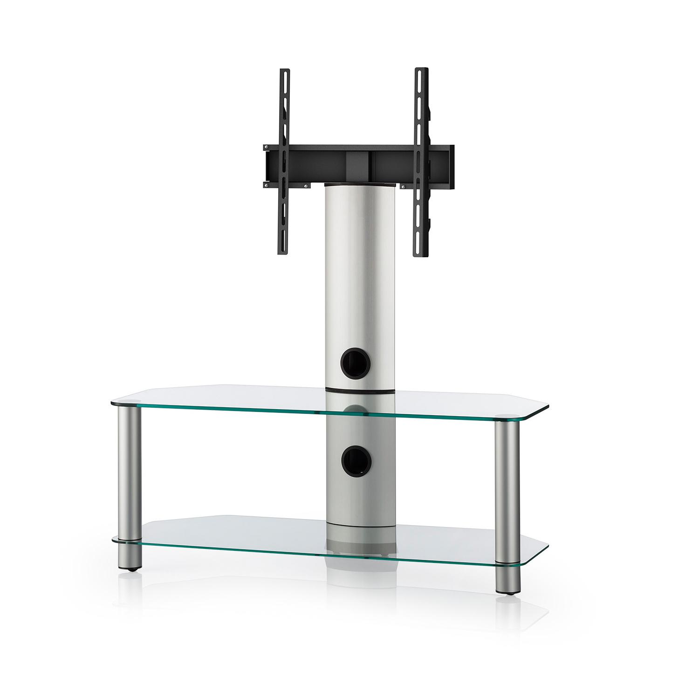 finlux clear glass 2 shelf tv corner stand with bracket. Black Bedroom Furniture Sets. Home Design Ideas