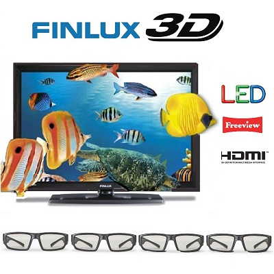 32 Inch LED 3D TV from Finlux, 4x 3D Glasses, HD Ready, Freeview & USB PVR