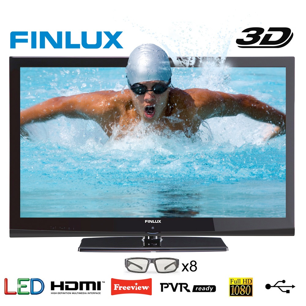 42 Inch LED 3D TV from Finlux, Full HD, 8x 3D Glasses, Freeview & PVR