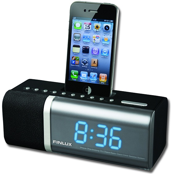 finlux alarm clock radio with ipod iphone dock id f510. Black Bedroom Furniture Sets. Home Design Ideas
