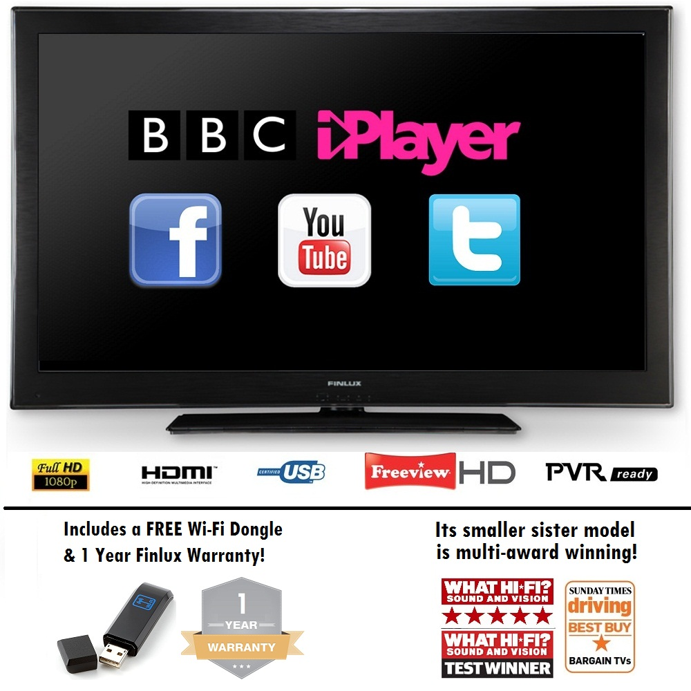 Finlux 40F8030-T Smart LED TV, Full HD, Freeview HD, USB PVR Recording & Dongle