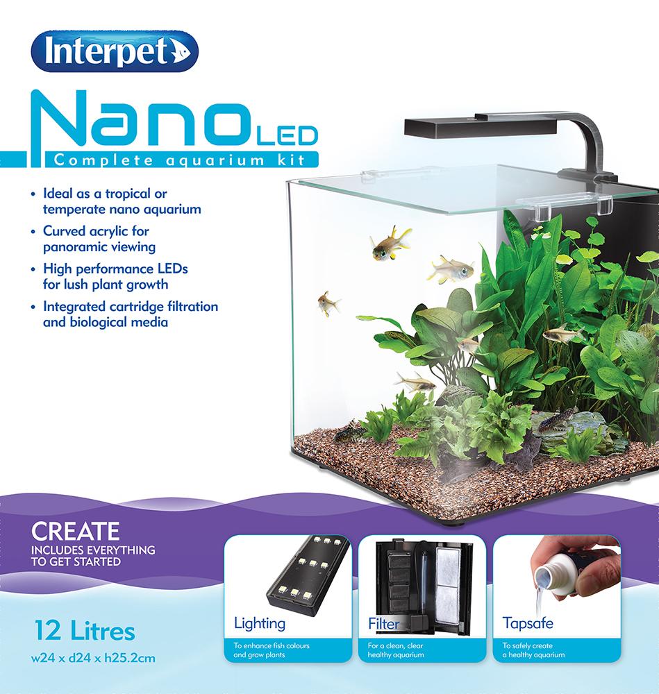 Interpet nano led fish tank aquarium kit various sizes ebay for Fish tank measurements