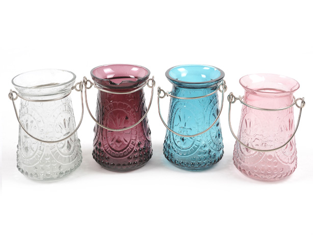 Coloured glass jar tealight holders hanging tea light for Diy hanging tea light candle holders