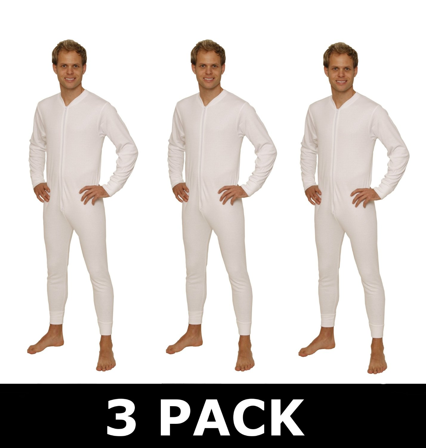 Octave 3 Pack Mens All In One Thermal Union Suit With