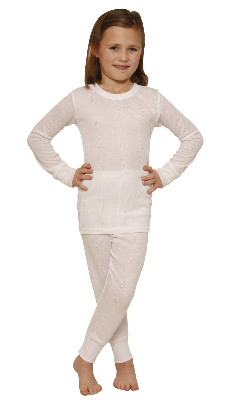 OCTAVE® Girls Thermal Underwear Set : Long Sleeved Vest & Long ...
