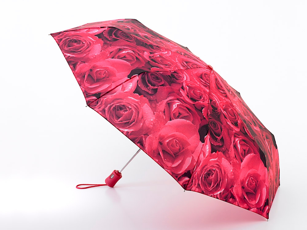 Fulton® Automatic Open & Close Ladies Compact Deluxe Folding Umbrella Red Roses