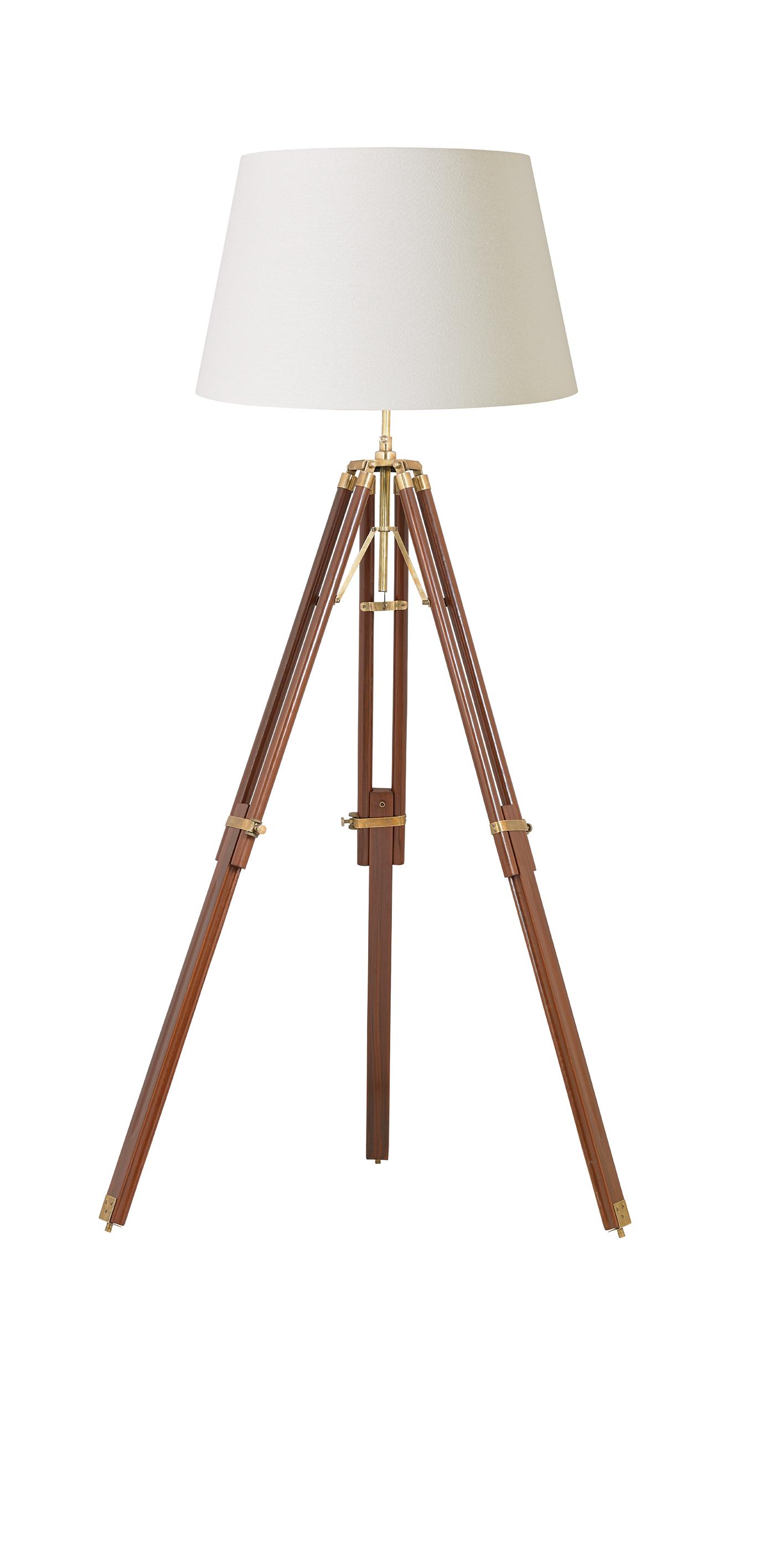 Endon tripod base only floor lamp 60w sheesham wood for Brass tripod floor lamp uk