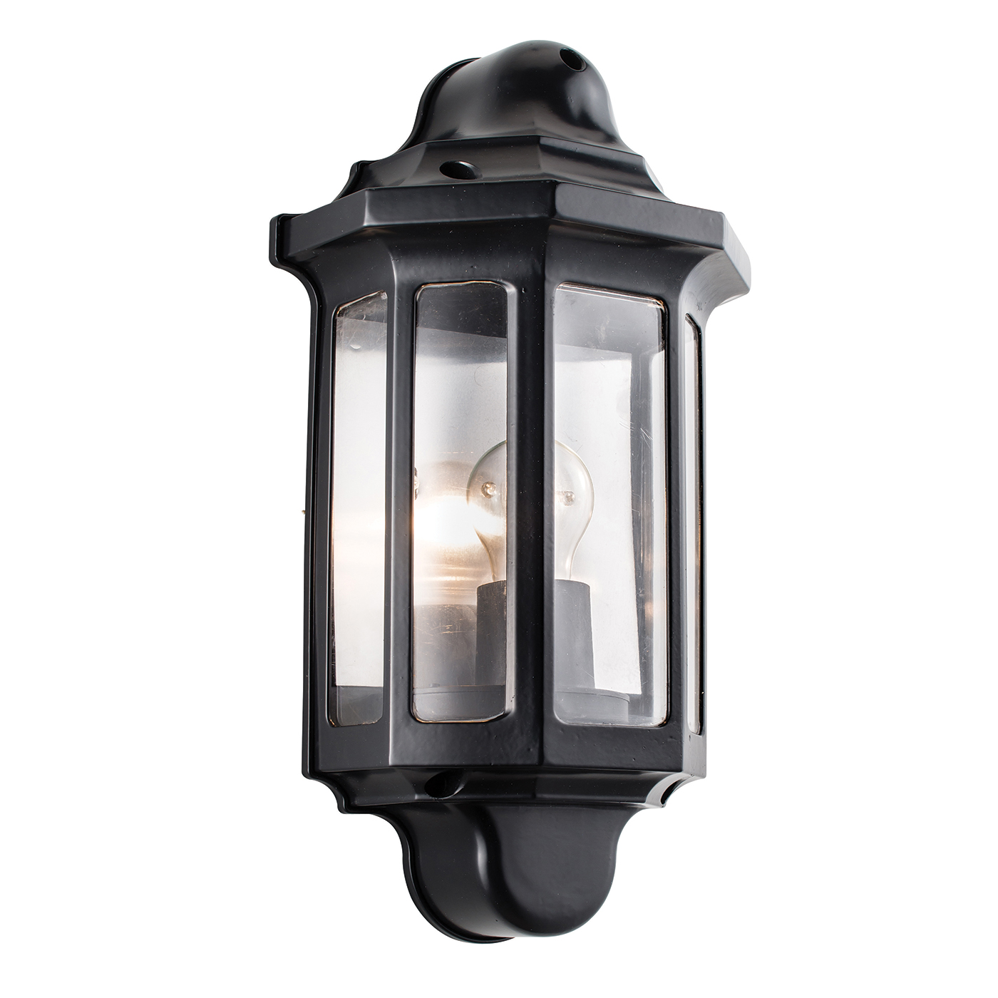Traditional Nautical Black Ip44 Outdoor Garden Bollard: Endon Traditional Half Lantern Outdoor Porch Wall Light