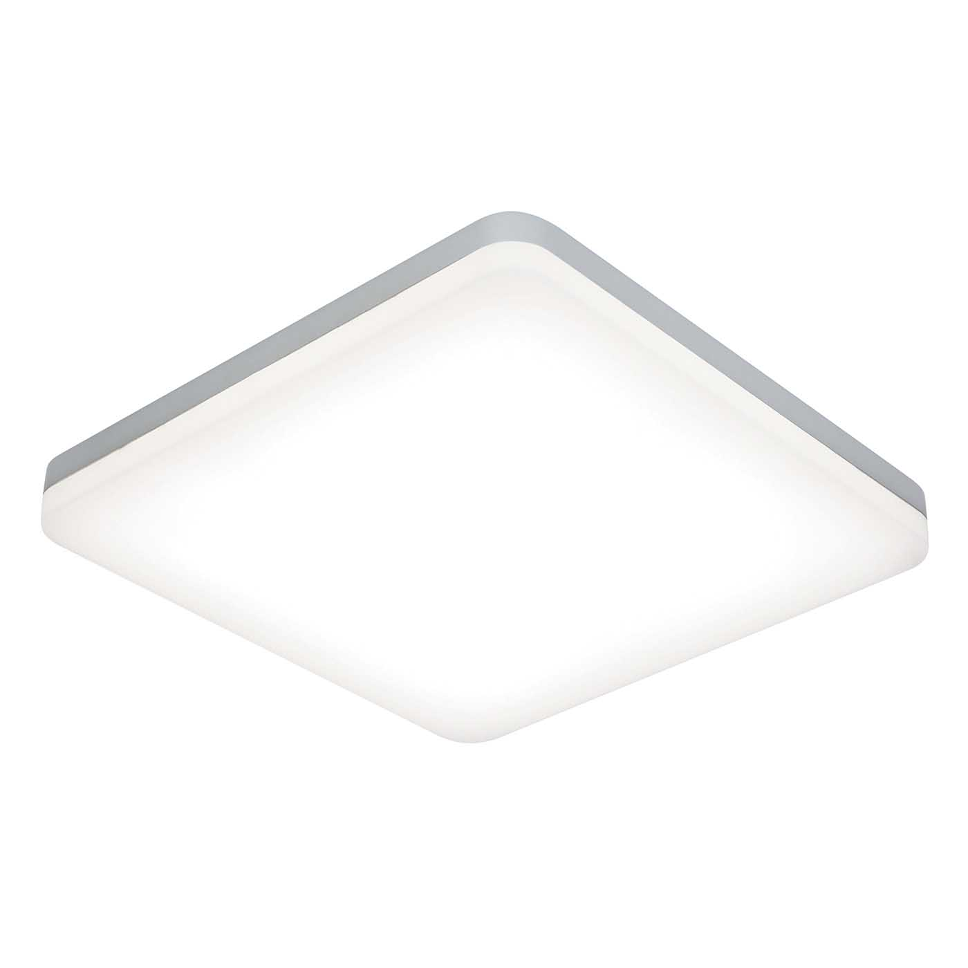 Saxby Noble Square Flush Ip44 Led Bathroom Ceiling Light 22w Opal Silver 4000k Ebay
