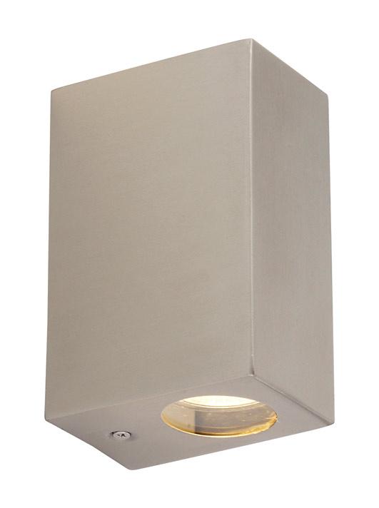 Halogen Exterior Wall Lights : Exterior halogen up/down wall light 2x35W GU10 brushed stainless steel