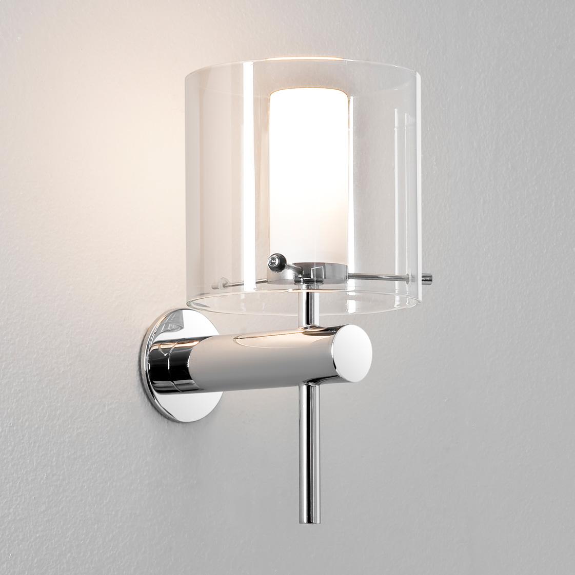 Bathroom Wall Lamp Shades : ASTRO Arrezzo 0342 Bathroom wall light 1x28W G9 lamp IP44 Chrome Glass shade eBay