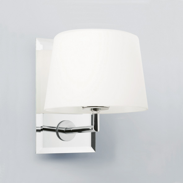 White Dimmable Wall Lights : Astro Image 0410 dimmable wall light 40W G9 IP20 mirror finish white glass shade