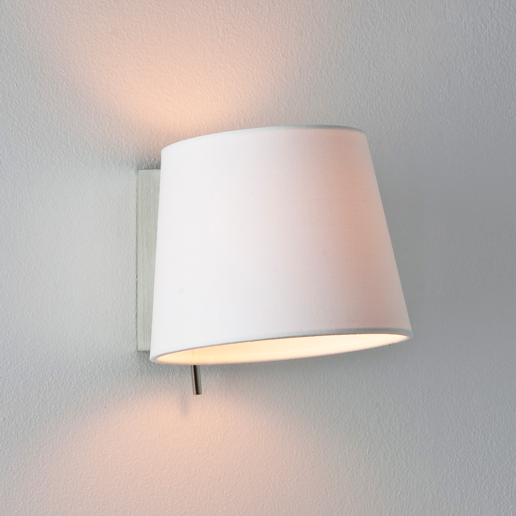 Fabric Wall Lamp Shades : Astro Sala 0527 dimmable wall light 60W E14 lamp IP20 nickel White fabric shade eBay