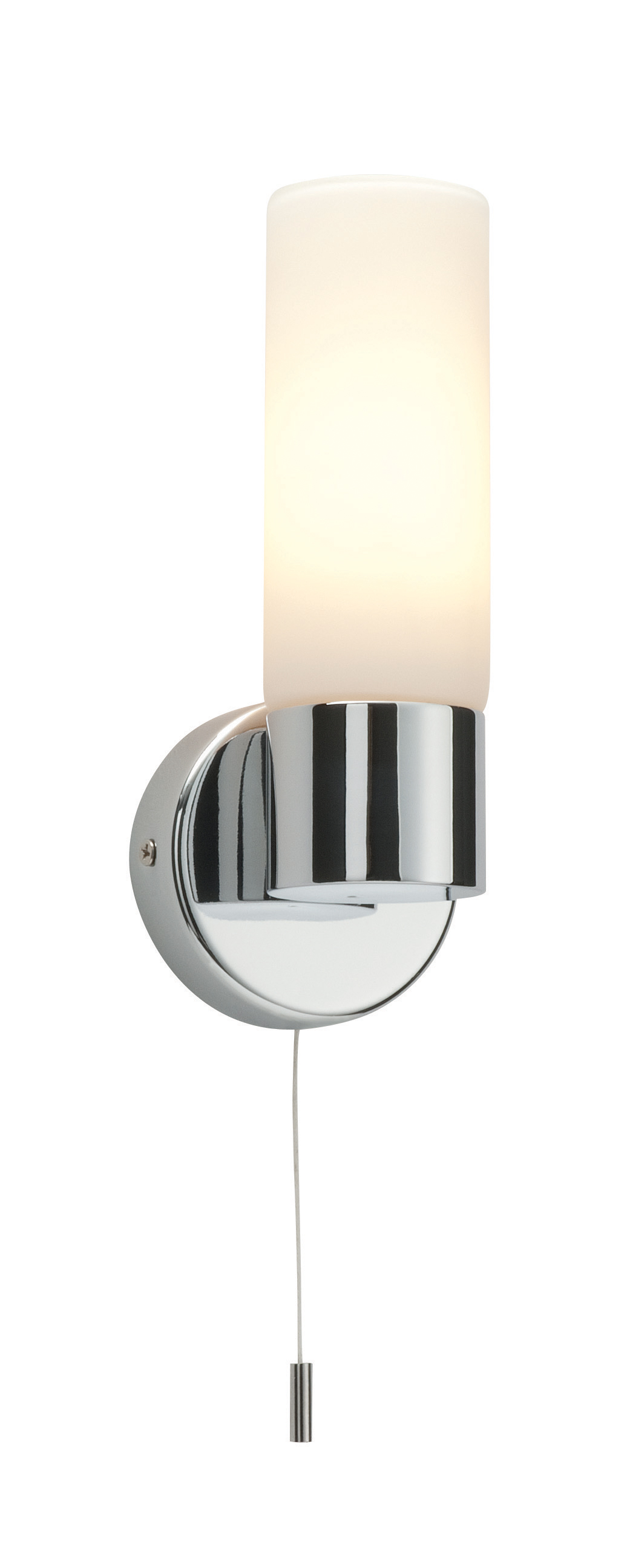 Wall Lights With Power Cord : Saxby Pure single bathroom wall light pull cord switch chrome glass 40W E14 eBay