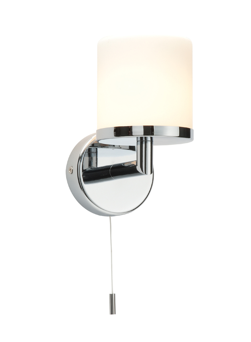 Saxby Lipco 39608 bathroom wall light pull cord switch chrome glass 28W G9