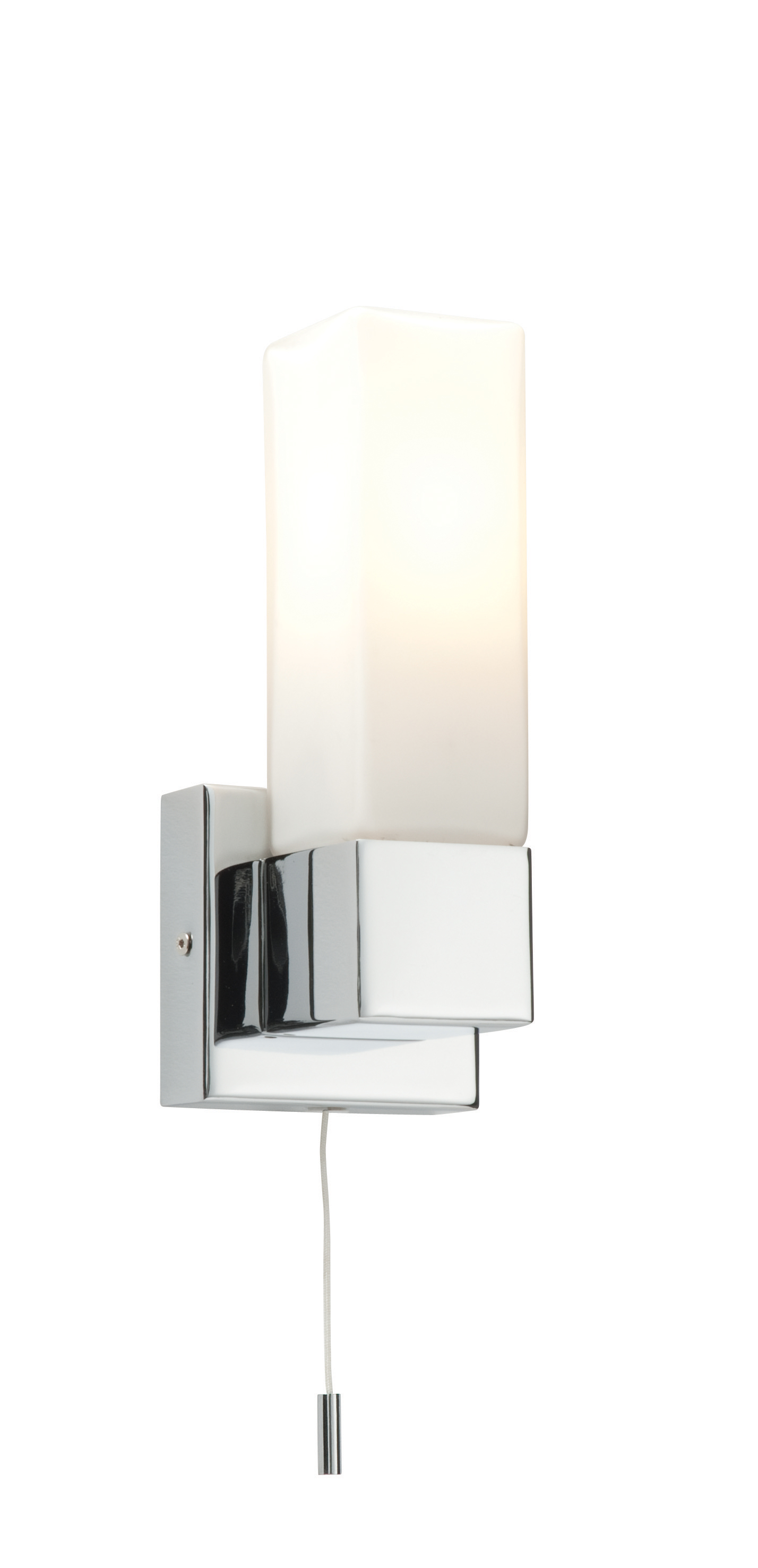 Bathroom Wall Lights Pull Cord Switch : Saxby Square single bathroom wall light pull cord switch chrome glass 40W E14 eBay